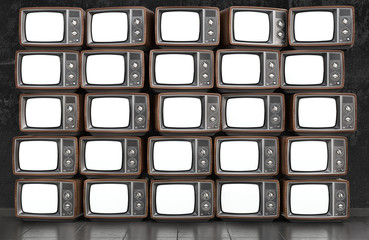 Wall of old TVs with white screen. 3d illustration