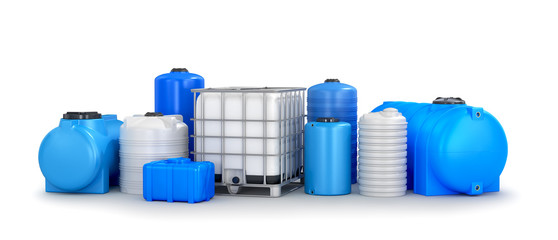 Different types of plastic water storage tank. 3D illustration