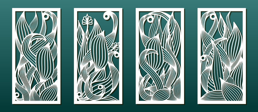 Laser cut templates, set of panels with floral pattern. Wood or metal cutting, panel decor, paper art, fretwork stencils. Vector illustration