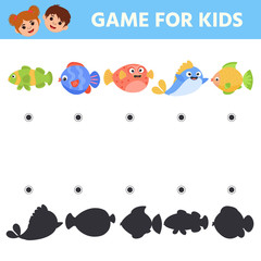 Matching Children Educational Logic Game. Find the correct shadow. Fishs. Activity for Preschool Kids and Toddlers. Worksheet activity