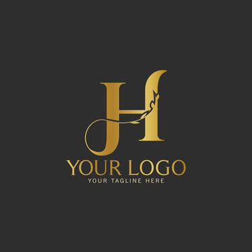 H Initial letter Gold Logo Icon classy gold letter suitable for boutique restaurant wedding service hotel or business identity