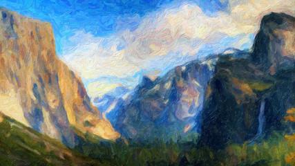 Papiers peints Bleu vert Impressionnisme. Parc nationale de Yosemite, le Tunnel View.. États-Unis