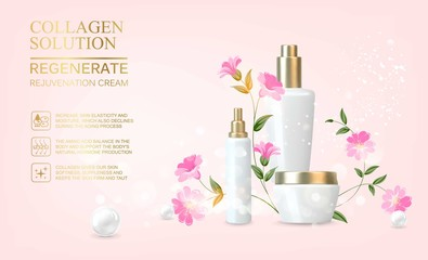 Obraz Awesome bouquet of linum flowers and bottle, jar with a regenerate cream for your body. Skin shampoo cosmetics, plastic tube with vitamin complex for spa relax. Flower flax wreath on pink background. - fototapety do salonu