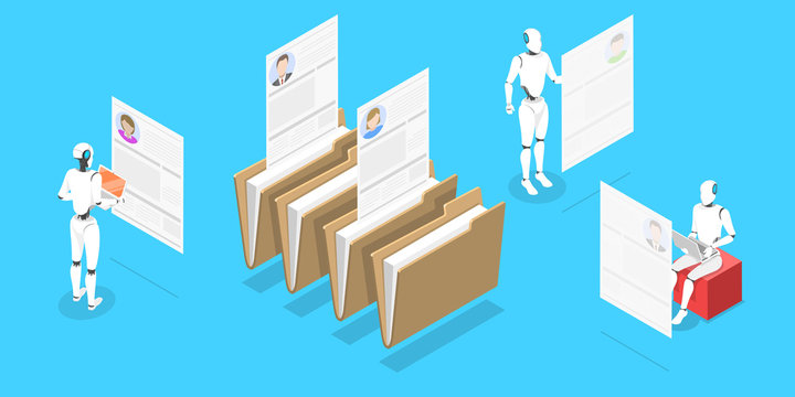Isometric Vector Conceptual Illustration. Robots are searching the Best Candidate For Some Position Through CV Database. AI in HR, Robot Headhunter.