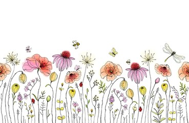 Fototapeta Seamless floral border with colorful wildflowers, poppies, butterflies, bees, dragonfly and ladybugs. Vector horizontal pattern on white background. Hand drawn illustration.