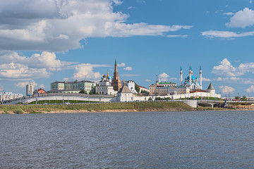 Kazan, Republic of Tatarstan, Russia. Kazan Kremlin with Presidential Palace, Soyembika Tower, Annunciation Cathedral, Qolsharif Mosque. View from the shore of Kazanka river.