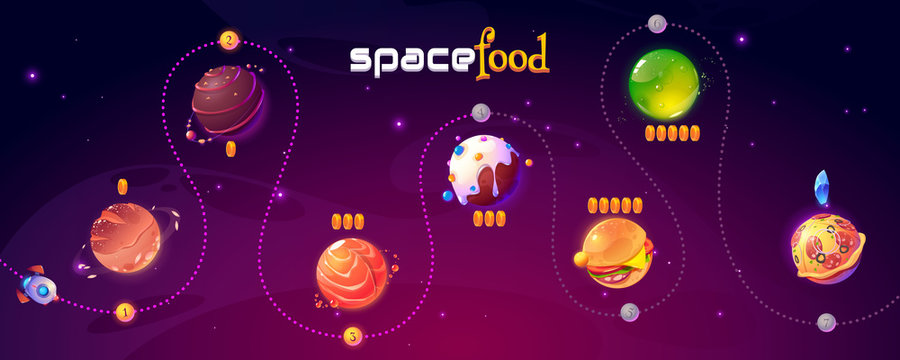 Space food game level map. Vector ui play design with rocket in funny universe with alien planets with pizza, chocolate candy, burger and bread texture