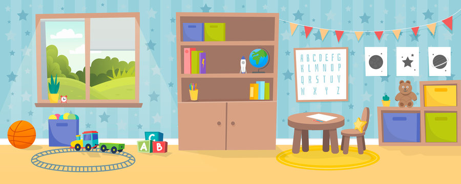 Kindergarten or kid room interior vector illustration. Empty cartoon background with child toys, tables and drawer boxes. Modern room with furniture, sunlight from window and toys for kids.