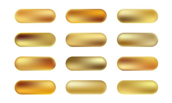 Big set of gold foil texture buttons. Vector golden elegant, shiny and metallic gradient collection