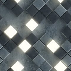 Gray seamless pattern of concrete and illuminating cubes 3D render