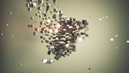 Shape of cubic particles abstract 3D render illustration