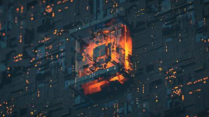Quantum computer sci-fi design 3D render illustration
