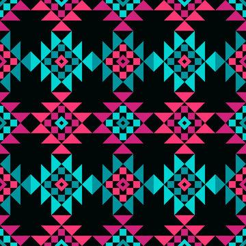 Aztec elements. Ethnic boho ornament. Seamless pattern. Tribal motif. Vector illustration for web design or print.