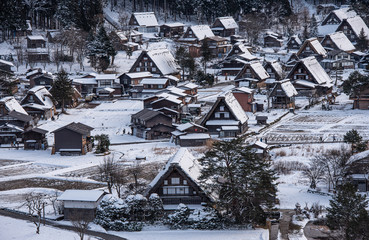 Wall Murals Gray traffic Shirakawa-go village landscape in winter, Japan.