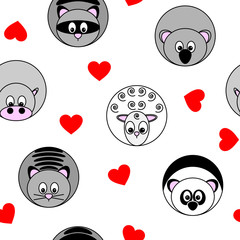 cute seamless pattern with vector illustrations of round animals and red hearts, separated from background