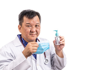 Asian medical doctor recommends facemask and hand sanitizer for protection against virus germs