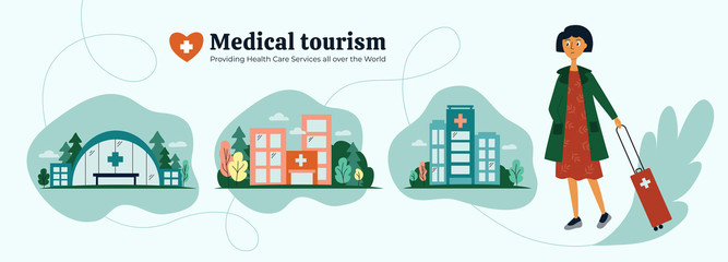 Medical tourism agency. Girl choosing quality medical services all over the world. Icons of clinic, hospital, health care center. Young woman and organization of treatment abroad. Vector illustration. Fotomurales