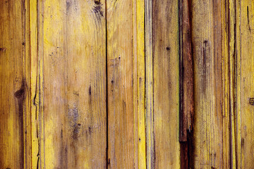Wall Mural - Background of messy shabby yellow wooden surface texture