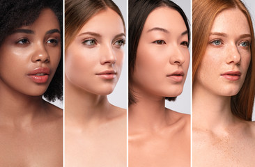 Diverse young ladies with different skin colors