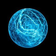 Blue glowing ball lightning effect isolated on black