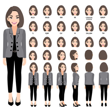 Cartoon character with business woman in suit for animation. Front, side, back, 3-4 view character. Separate parts of body. Flat vector illustration. 330