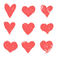 Set of pink, red hand drawn hearts. Vector grunge heart shapes.
