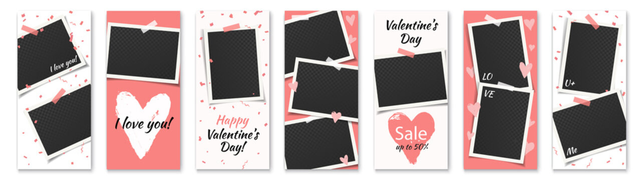 Valentine day insta stories, social media vector template with photo frames and hearts. Flyer set with bright pink and white backgrounds. Text: I love you, sale, up to 50%, Valentine's day, Happy.