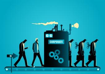 Fototapeta Corporate molding machine transforming men into robotic businessmen obraz