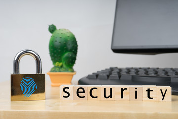 Internet security concept with finger prints scan on the padlock.