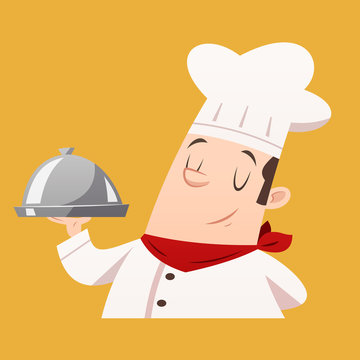 Cartoon chef serving food vector isolated illustration