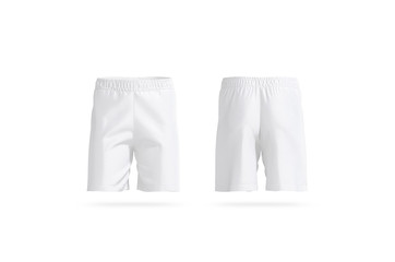 Blank white soccer shorts mockup, front and back view