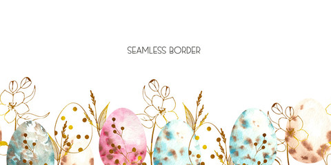 Watercolor Easter seamless border with Easter bunnies, eggs, basket, balloon, car, flags, delicate pink Apple blossoms, branches, leaves and twigs
