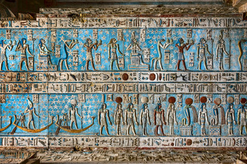 Hieroglyphic egypt carvings on ceiling