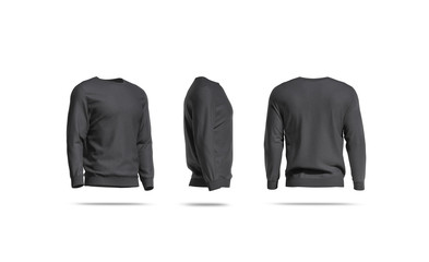 Blank black casual sweatshirt mockup, side and back view