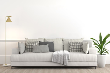 Interior design setup, modern elegant living-room consisting of white couch with various pillows and textiles, lamp and plant on a pot on white empty wall for mock up 3d render.