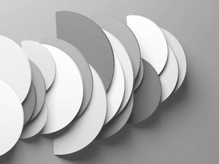 Geometric round slices, 3d rendering illustration