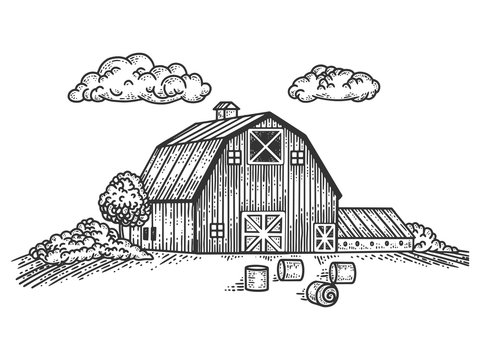 Wooden country farm house sketch engraving vector illustration. T-shirt apparel print design. Scratch board imitation. Black and white hand drawn image.