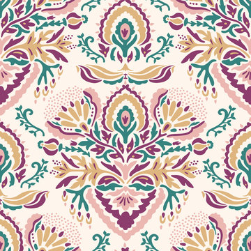 Old indian arabesque damask seamless vector pattern. Ornate spice color marsala red yellow middle eastern style  background. Vintage ethnic decorative floral medallion all over print