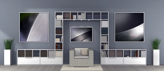 3D rendering of a modern living room and library interior with an armchair, symmetric book shelf and frames with photos at the wall in the background