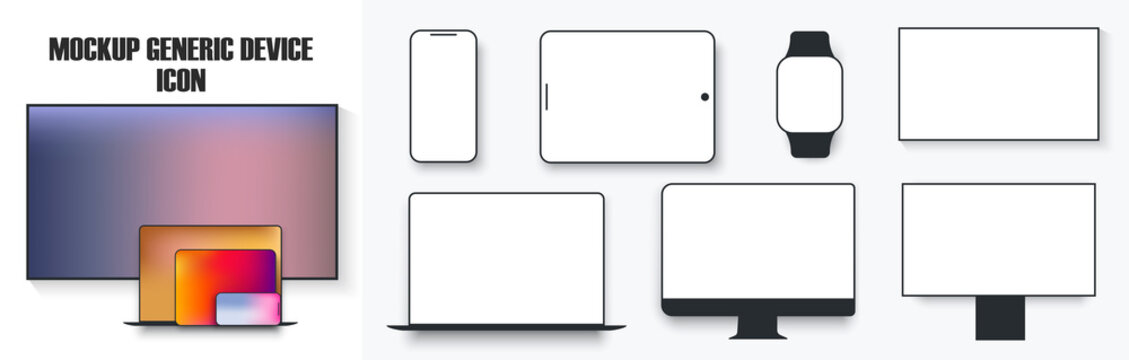 White desktop computer display screen smartphone tablet portable notebook or laptop and tv icon. Outline mockup electronics devices phone monitor lines simple isolated vector set. Mockup device