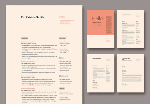 Resume and Cover Letter Layout with Coral Accents