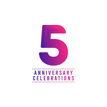 5 Years Anniversary Celebrations Vector Template Design Illustration
