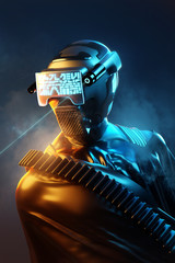 Spoed Foto op Canvas Hoogte schaal Futuristic human model wearing a protective outfit and helmet. People and technology 3D illustration.