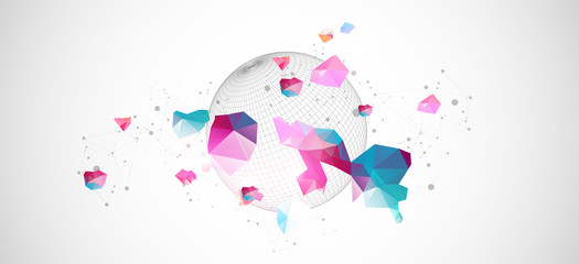 Wall Mural - Abstract sphere background with plexus effect. 3D surface.