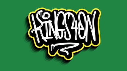 Kingston Jamaica Hand Lettering Graffiti Tag Style Sticker Design.