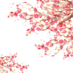 watercolor tree branches in bloom with copy space
