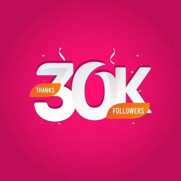 Thanks 30 K Followers Vector Template Design Illustration