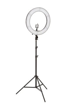 A selfie lamp on a white isolated background.