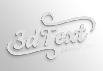 Simple White 3D Text Effect Mockup