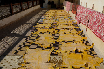 Tanned animal skins dry on the roof of a tannery in the old town of Fes